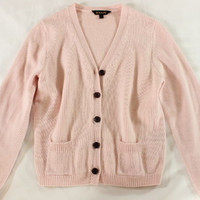 "~~~ SUPER-CUTE! ~~~ KOVA & T BLUSH PINK ""CASHMERE/COTTON"" CARDIGAN SWEATER ~ L"