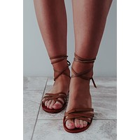 Lace Me Up Sandals: Cognac