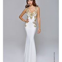 Nina Canacci 8041 Jeweled White & Gold Dress