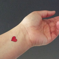 20 Temporary Tattoos Small Red Hearts / Fake Tattoos / Set of 20