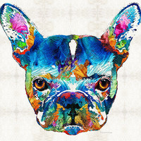 Colorful French Bulldog Dog Art By Sharon Cummings Print