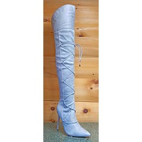 "So Me Pointy Toe Strap Lace OTK Thigh High Boots 4"" Stiletto Heel 5.5-7 Gray"