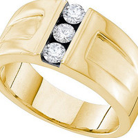 Diamond 3 Stone Mens Ring in 14k Gold 0.49 ctw