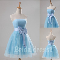 Sky Blue Strapless Waistband Bowknot Lace-up Short Bridesmaid Dress,Mini Tulle Ball Gown Evening Party Cocktail Prom New Homecoming Dress