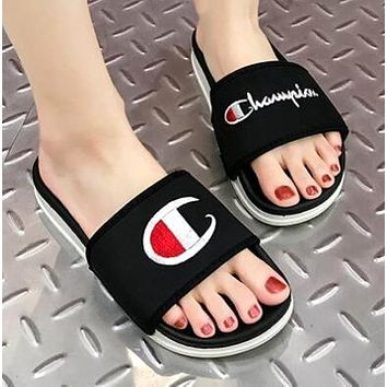 Bunchsun Champion Summer Popular Women Men Casual Flats Beach Couple Sandals Slippers Shoes