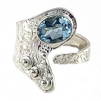 Blue Topaz Sterling Silver Adjustable Button Up Ring