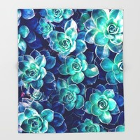 Plants of Blue And Green Throw Blanket by Phil Perkins