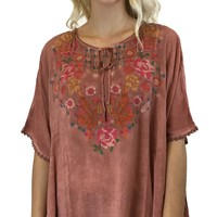 Andree by Unit Embroidered Poncho Top Dark Rust