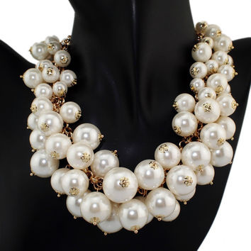 Melanie Exaggerated  GoldMultilevel Chains Cross Pearls