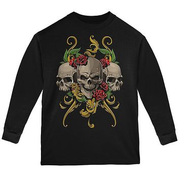 Skulls and Roses Youth Long Sleeve T Shirt
