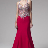 KC131587 Red Jeweled Halter Prom Dress by Kari Chang Couture