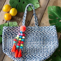 Woven Bucket Bag, Blue