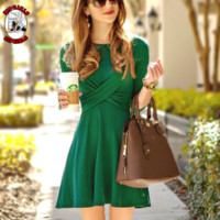 Autumn and winter New fashion long sleeve dress women Green