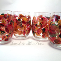 Handpainted Wine Glasses Fall leaves beautiful rich colors 4/10.5 oz Ready to ship