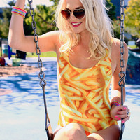 Plus Size French Fries One-piece Swimsuit Love This Sunday