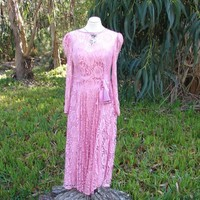 Vintage Pink LACE Satin party prom dress ceremony full skirt lace dress