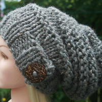 Hand Knit hat-Womens hat-slouchy-beanie hat with big natural coconut button-chunky winter hat- Available in 10 colors- Womens Accessories