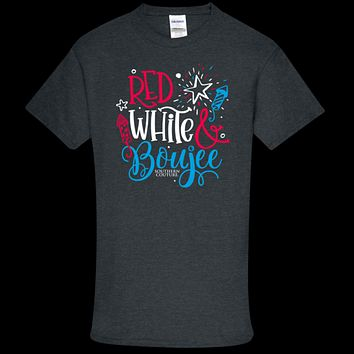 Southern Couture Soft Collection Red, White & Boujee front print T-Shirt