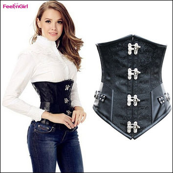 FeelinGirl Sexy Corset Top Steel Boned Waist Cincher Trainer Training Corpete Corselet Black Floral Print Underbust Corsage Slimming Gothic Steampunk Corpete = 1696997252