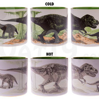 Disappearing Dinosaur Mug: Add hot coffee to turn dinos into fossils.