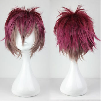Supreme Halloween Diabolik Lovers 32cm Short Color Mixed Man Crazy Cosplay Anime Wig,Colorful Candy Colored synthetic Hair Extension Hair piece 1pcs WIG-199E