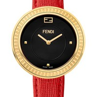 Women's Fendi 'Fendi My Way' Genuine Fox Fur Detail Leather Strap Watch, 36mm