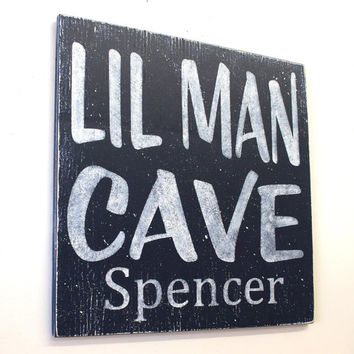 Lil Man Cave Wood Sign Boys Nursery Decor Navy Nursery Boys Bedroom Wall Sign Personalized Boys Sign Distressed Wood Handmade Handpainted