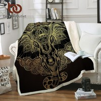 BeddingOutlet Golden Elephant Velvet Plush Throw Blanket Animal Printed Sherpa Blanket for Couch Indian Black Thin Quilt