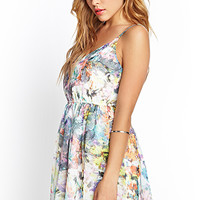 FOREVER 21 Abstract Floral Cami Dress White/Multi