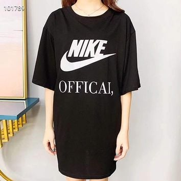 """""""NIKE"""" Woman Leisure Fashion Letter Luminous Personality Printing Crew Neck Loose Short Sleeve Motion Tops Skirt"""