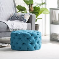 Belham Living Allover Tufted Round Ottoman - Teal | www.hayneedle.com