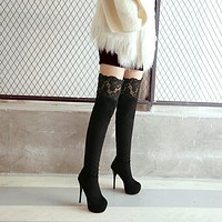 Lace Platform High Heel Over the Knee Boots for Women 7044