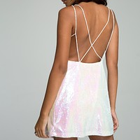 Motel - Strappy Open Back Pearl Shimmer Gigi Slip Dress in Riggo Pearl Sequin