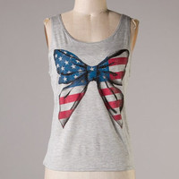 Bow In The USA Tank: Grey - Shoreline Boutique