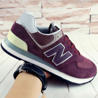 NEW BALANCE Women Men Casual Running Sport Shoes Sneakers Wine red