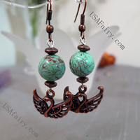 Genuine Turquoise Earrings Copper Swan Earrings Dangle Green Stone