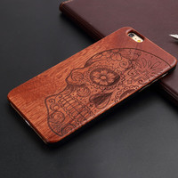 Retro Skull Nature Wood/Wooden Cover Case for Apple iPhone 5 5s 6 6s 6 Plus 6s Plus