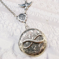 Silver Locket Necklace  The ORIGINAL Silver INFINITY by birdzNbeez