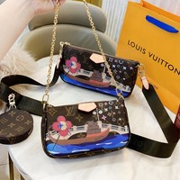 LV Louis Vuitton New fashion monogram leather chain shoulder bag round wallet crossbody bag three piece suit bag