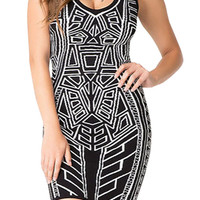 Black Ethnic Geo Print Sleeveless Bodycon Mini Dress