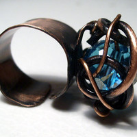 Copper ring with light blue swarovski  crystal. Free shipping