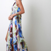 Women's Slit Abstract Halter Maxi Dress