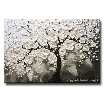 CUSTOM Original Art Abstract Painting White Flowering Cherry Tree Textured Blue Grey Taupe