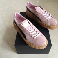 PUMA RIHANNA PINK SUEDE CREEPERS FENTY UK SIZE 7.5 US SIZE 10 TRAINERS NEW