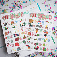 MATTE Christmas Bucket List Stickers! Set of 44, perfect for the Erin Condren Life Planner, calendar, Filofax, or Plum Planner!