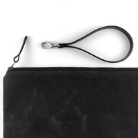 Waxed Canvas Clutch,Black Canvas Bag,Zippered Canvas Bag,Leather Strap Clutch,Water Resist Clutch,Black Canvas Bag,Zippered Canvas Pouch
