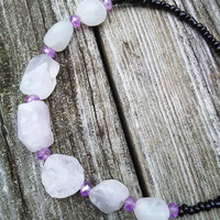 Rose Quartz Crystal Necklace, Raw Rose Quartz Jewelry, Beaded Necklace, Gypsy Necklace, Heart Chakra Jewelry, Boho Necklace, Crystal Jewelry