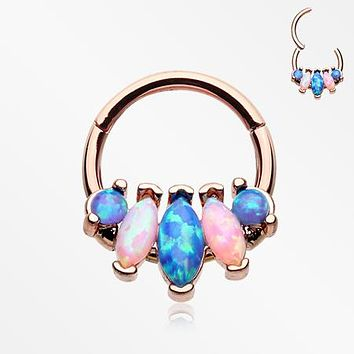 Rose Gold Marquise Fire Opal Sparkle Floral Seamless Clicker Hoop Ring