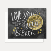 Love You To The Moon and Back Color - A2 Note Card