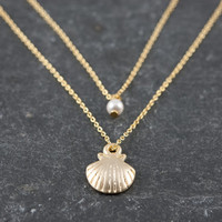 Layered Double Necklace, Dainty Gold Sea Shell and Pearl, Two Strand Necklace, Delicate Fine Chain